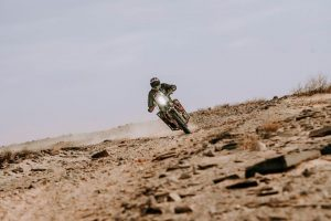Nicola riding during the 5th stage of the Africa Eco Race 2020