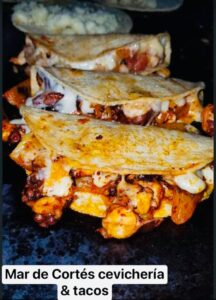 grilled octopus taco with cheese